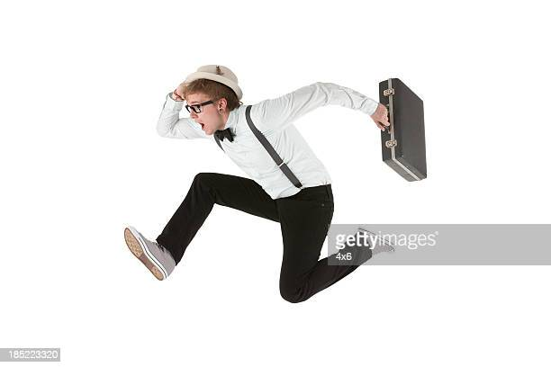 Man running with a briefcase
