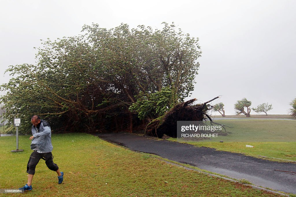 A man runs from a torn off tree on January 3, 2013 in Le Port, western part of French overseas' island of La Reunion, as cyclone Dumile approaches and authorities declare today a red alert that forbid people to leave their homes.