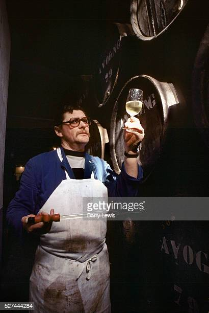Man sampling the champagne to check its colour and appearance Reims France