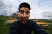 Man screaming while rotatiion