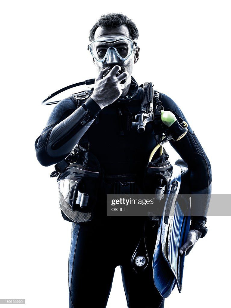 man scuba diver diving silhouette isolated : Stock Photo