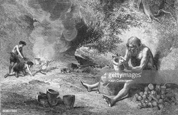 A man sculpts a pot while nearby teo boys gather twigs for the fire Bronze Age The original caption reads 'The First Potter'