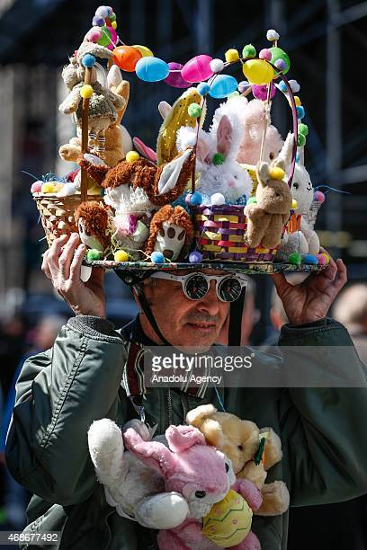 A man seen during Easter Parade which brings out creative hats for procession along Fifth Avenue in Manhattan New York on April 05 2015 The parade is...