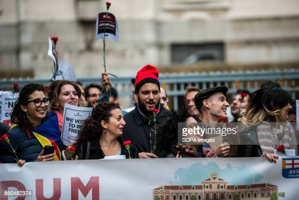 Man seen wearing a typical Catalan hat Barretina at the demonstration against Spanish Government actions Spanish Civil Guard police have arrested...
