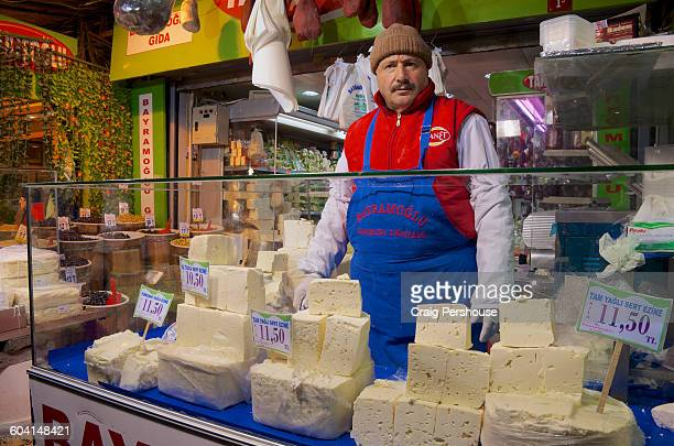 Man selling cheese in the Spice Bazaar