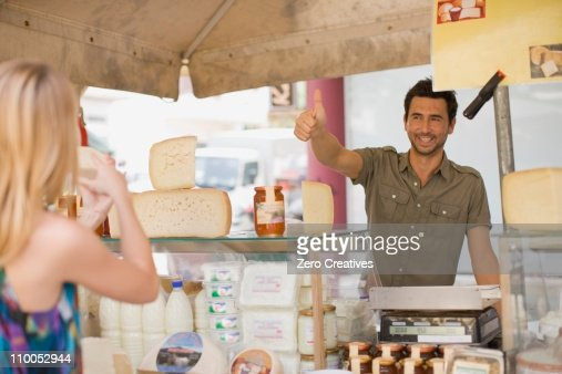 Man selling dairy products