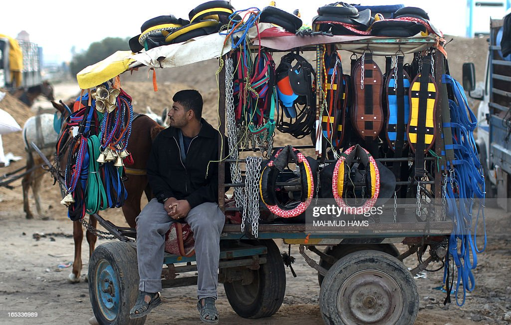 A man selling horse accessories, sits on his cart waiting for customers in the Deir al-Balah Palestinian refugee camp, situated along the Mediterranean coast in the central Gaza Strip, on April 2, 2013. The Aqra family, who originated from what is today southern Israel and moved to the Gaza Strip as refugees with the creation of the Jewish state in 1948, are members of the Quraan tribe. They have always been known as horse traders and breeders, renting out their services for the local transportation of goods and occasionally people, charging the equivalent of six or seven US dollars a day.