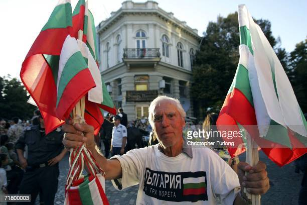 A man sells Bulgarian national flags during a parade to celebrate Unification Day a national holiday that commemorates the unification of Bulgaria...