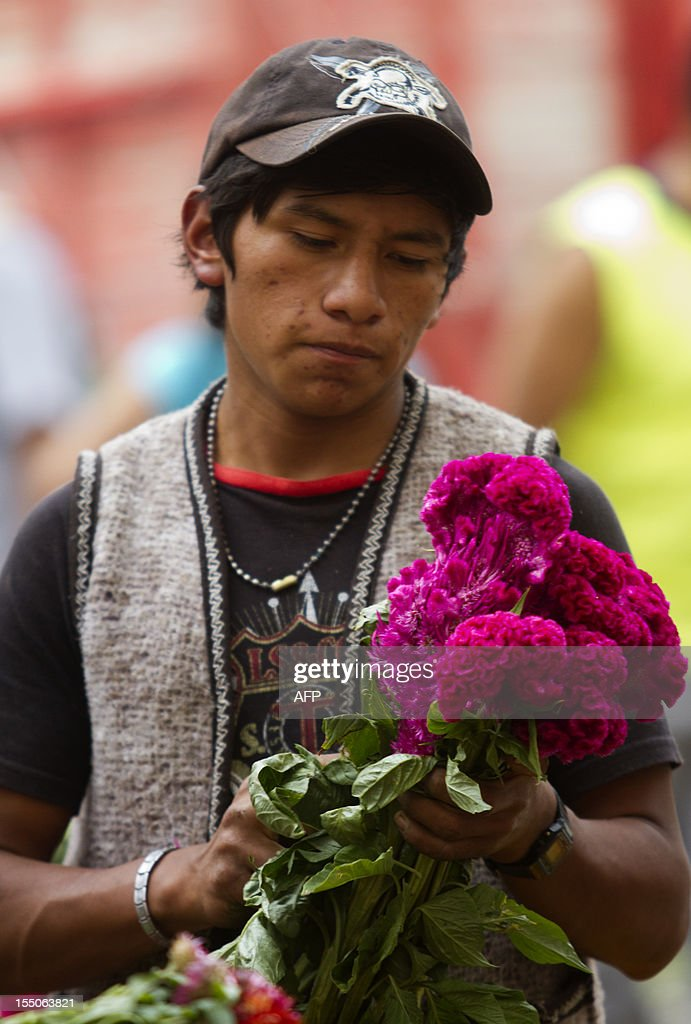A man sells flowers at Jamaica market in Mexico City, on October 31, 2012, as Mexicans prepare to celebrate the traditional Day of the Dead. AFP PHOTO/ Pedro Pardo