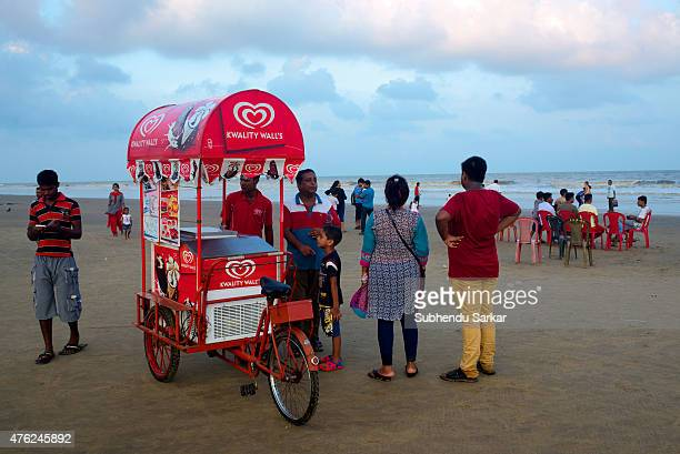 A man sells icecream on the sea beach at Digha Digha in East Midnapore district of West Bengal is a seaside resort town about 187 kms from Kolkata It...