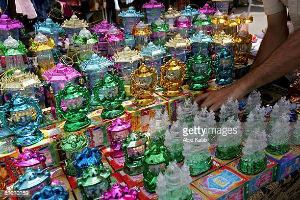 A man sells lanterns in the popular Alzaoya market in preparation for the Muslim holy month of Ramadan on September 01 2008 in Gaza City Gaza Ramadan...