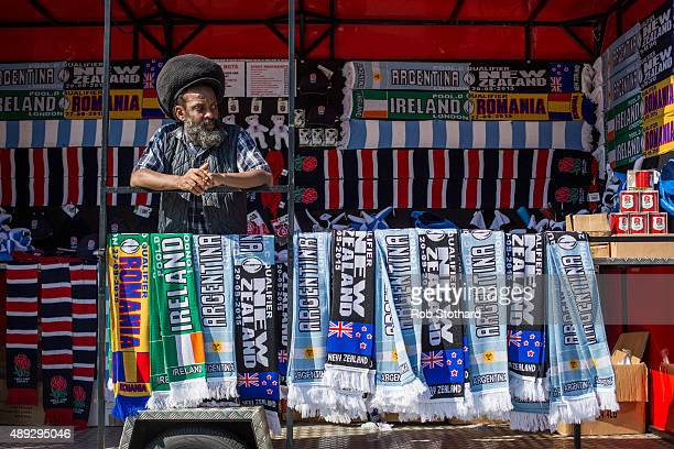 A man sells merchandise near Wembley Stadium ahead of the 2015 Rugby World Cup Pool C fixture between New Zealand and Argentina on September 20 2015...
