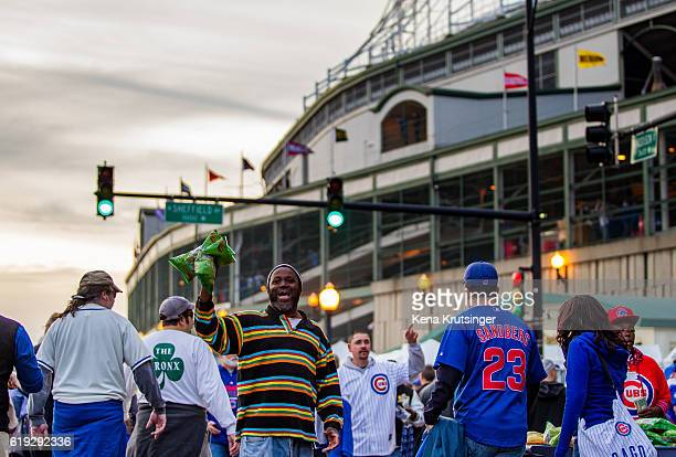 A man sells peanuts in Wrigleyville prior to Game Three of the 2016 World Series between the Chicago Cubs and the Cleveland Indians at Wrigley Field...