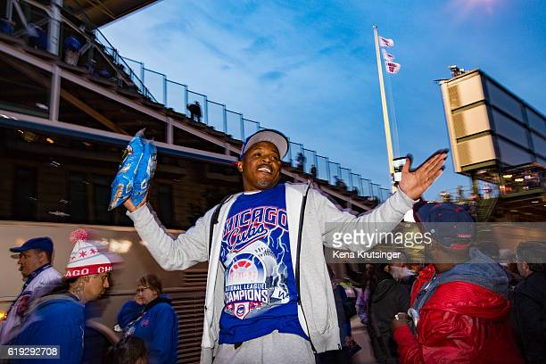 A man sells peanuts outside of Wrigley Field during Game Three of the 2016 World Series between the Chicago Cubs and the Cleveland Indians at Wrigley...