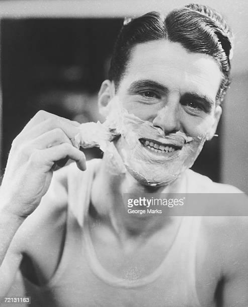 Man shaving (B&W)
