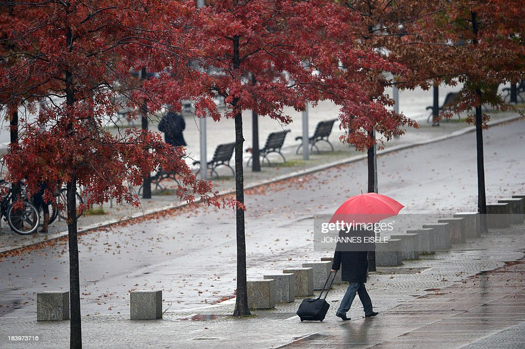 A man shelters from the rain under an umbrella as he walks past trees with leaves changing colour in Berlin on October 10, 2013
