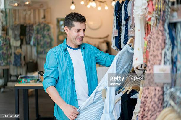 Man shopping at a clothing store