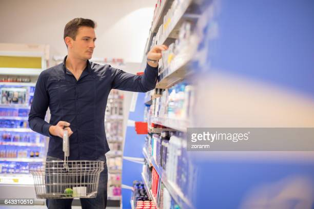 Man shopping for hygiene products