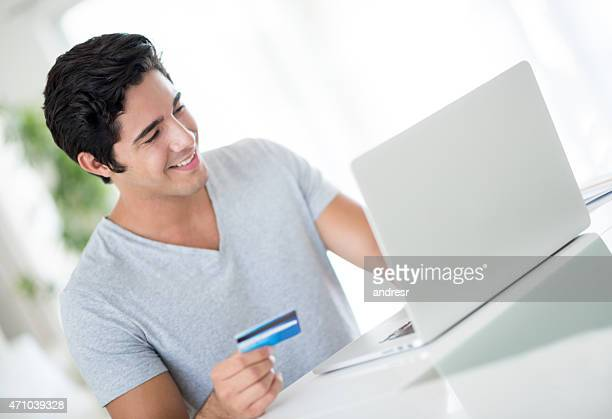 Man shopping online from home