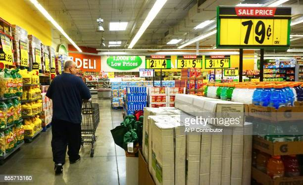 A man shops at a supermarket in Montebello California on September 29 Data released from the Los Angeles County Department of Public Health showed...