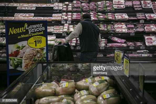 A man shops for meat at a Kroger Co grocery store in Birmingham Michigan US on Tuesday March 1 2016 Kroger Co is scheduled to release earnings...