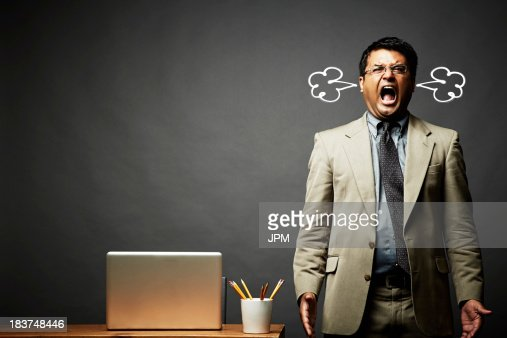 Man shouting and fuming