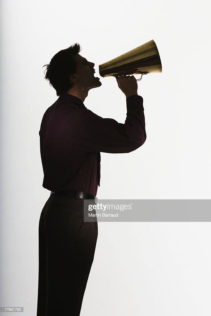 Man shouting through a megaphone