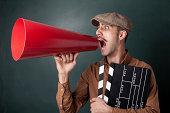 Man shouting on megaphone