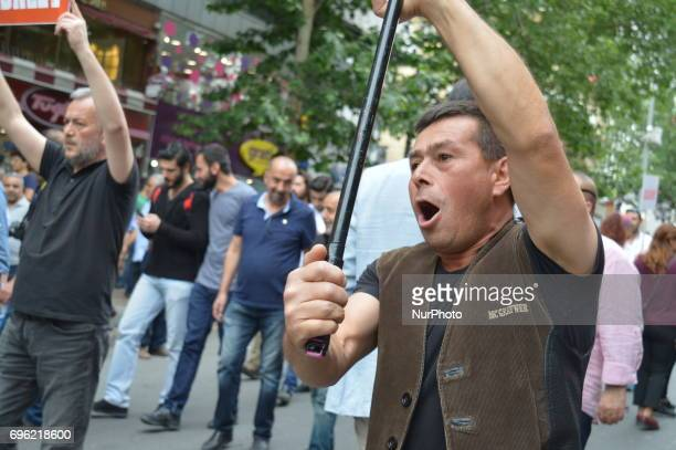 A man shouts slogans during the 'Justice March' to protest against the Turkish government held by the main opposition Republican People's Party in...