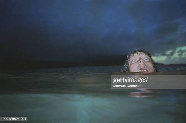 Man showing fear, head barely above water