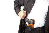 Example of concealed carry. Shot against a white background.