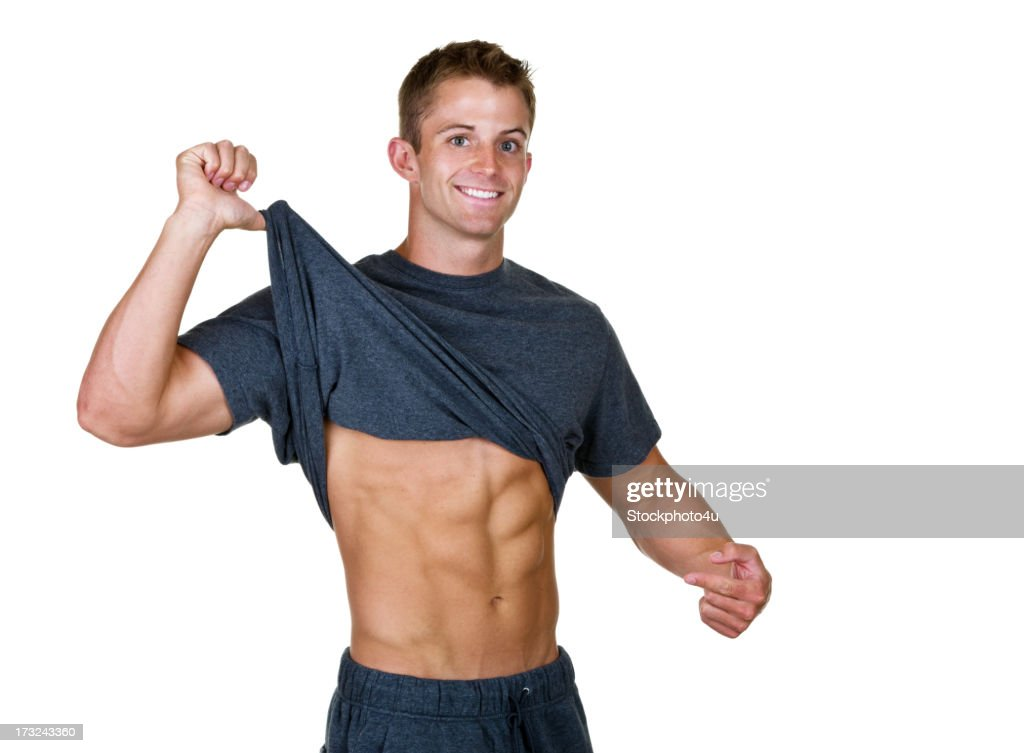Man showing off his 6 pack abs