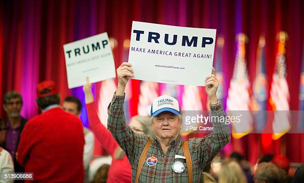A man shows his support as Republican presidential candidate Donald Trump made a speech at a campaign rally on March 5 2016 in Wichita Kansas where...