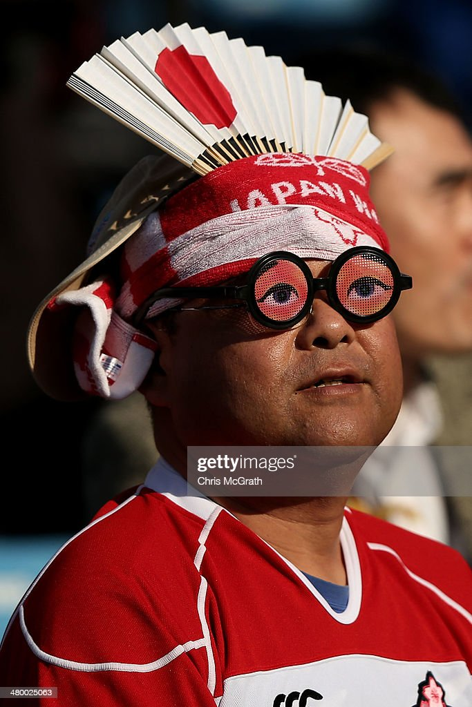 A man shows his support for team Japan during the Tokyo Sevens, in the six round of the HSBC Sevens World Series at the Prince Chichibu Memorial Ground on March 22, 2014 in Tokyo, Japan.