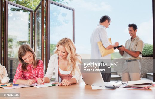 Man signing for package : Stock Photo