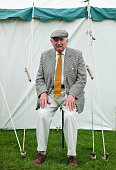 A man sits on a shooting stick outside a tent at the 150th Ryedale Agricultural Show on July 26 2016 in Kirkbymoorside England The Ryedale Show was...