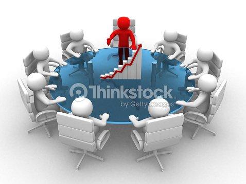 3 d hombre sentado en una mesa redonda y tener reuniones - Que es mesa redonda ...