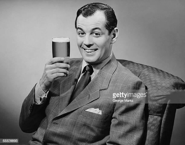 Man sitting & having a beer