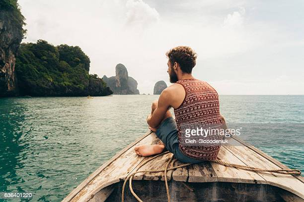 Man sitting on the boat