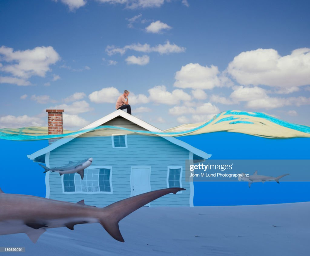 Man sitting on underwater house