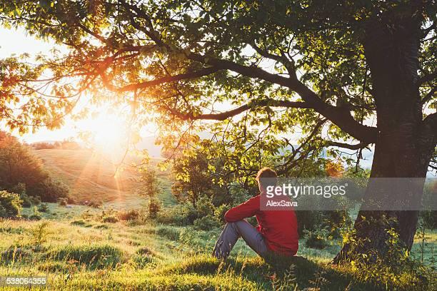 Mann unter einem Baum hockend und bewundern Sie den Sonnenaufgang