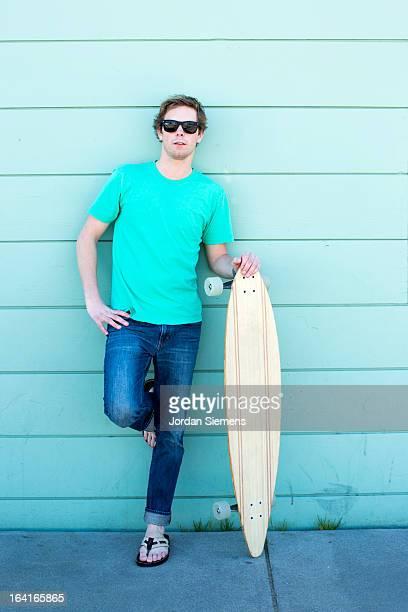 A man skatboarding.