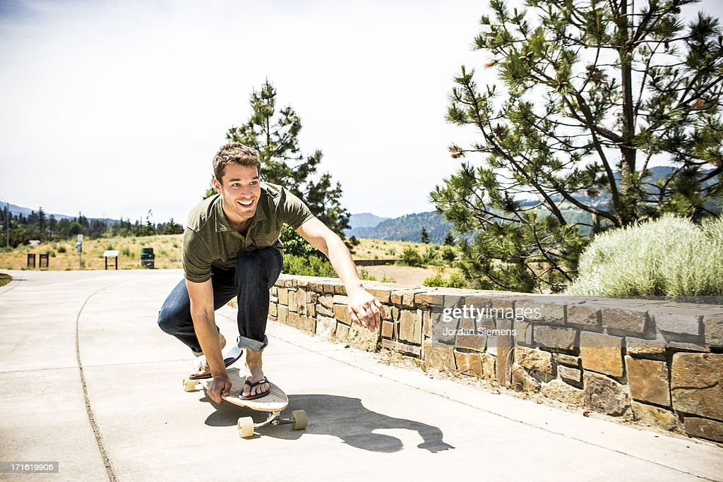 A man skateboarding.