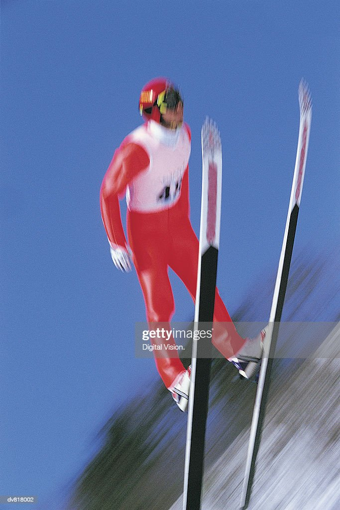 Man Ski Jumping : Stock Photo