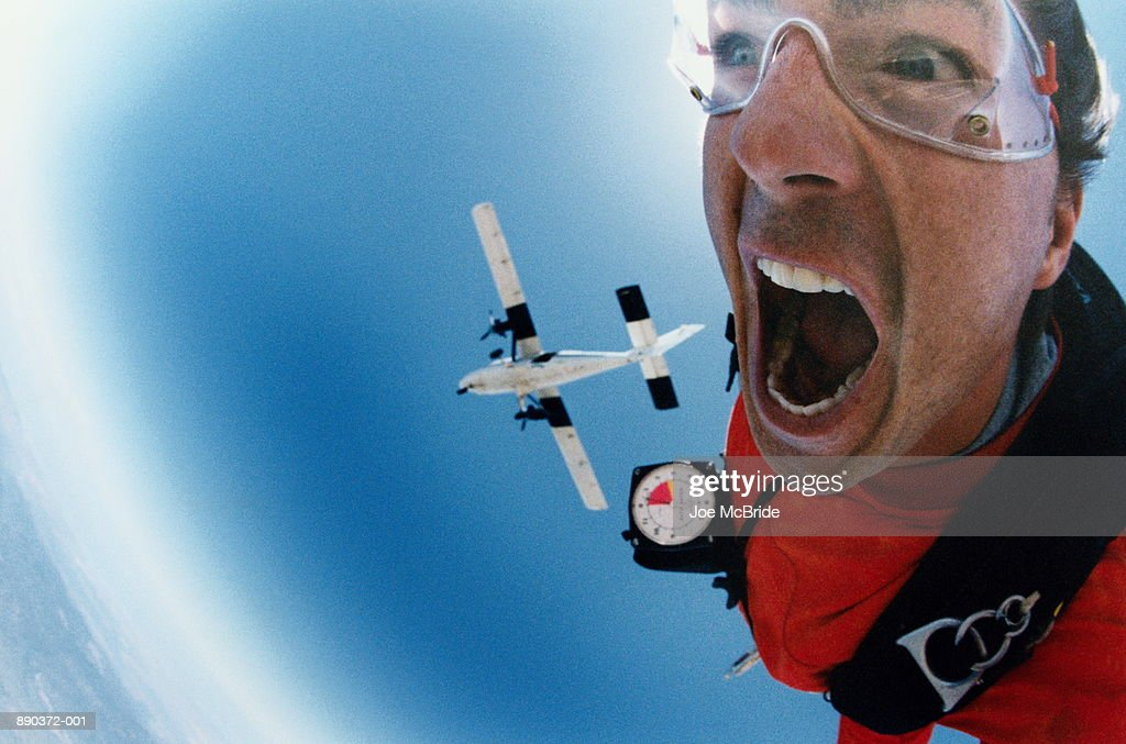 Man sky diving, close-up : Stock Photo