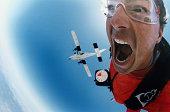 Man sky diving, close-up