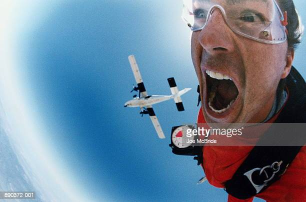 Man sky diving, close-up