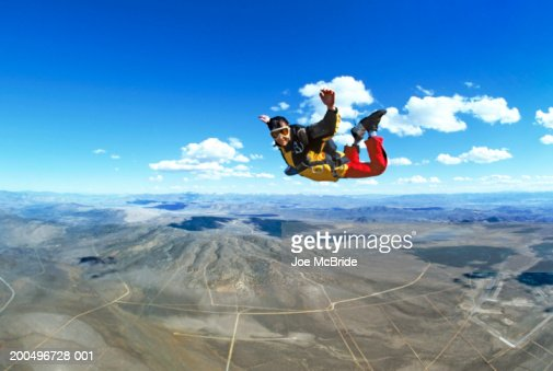 Man skydiving, portrait : Stock Photo