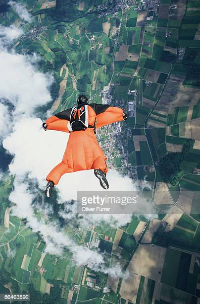Man skydiving wearing wingsuit