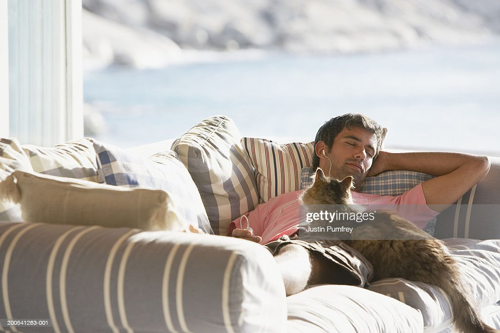 Man sleeping on sofa with cat : Stock Photo